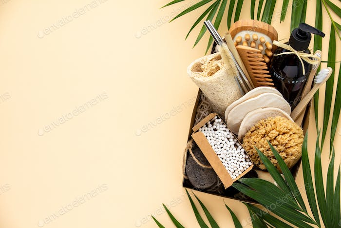 Zero waste beauty body care items on color paper background