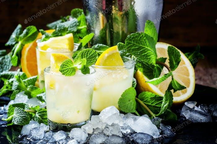 Eiscocktail mit Minze, Orange, Zitrone, Wodka und Crushed Ice
