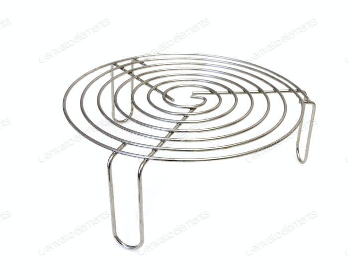 Metal Trivet For Hot Tableware Isolated On White Background.