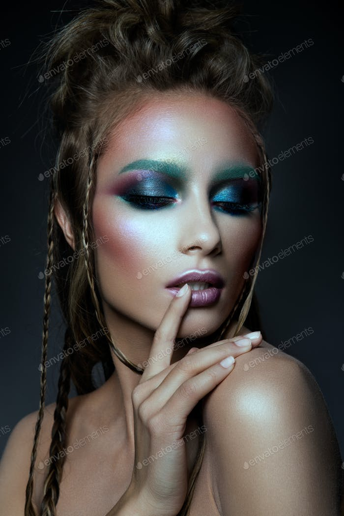 beautiful model with colorized make up