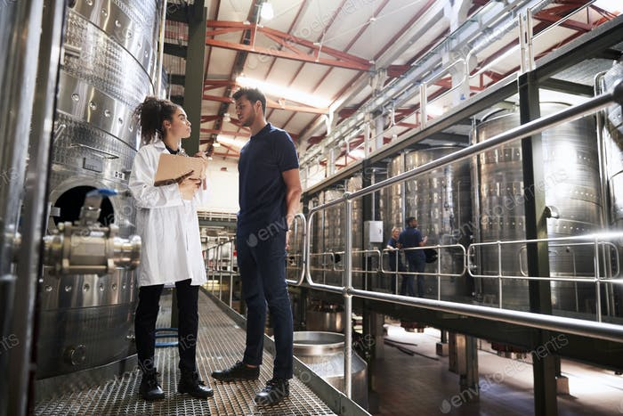 A male and a female technician talking at a wine factory