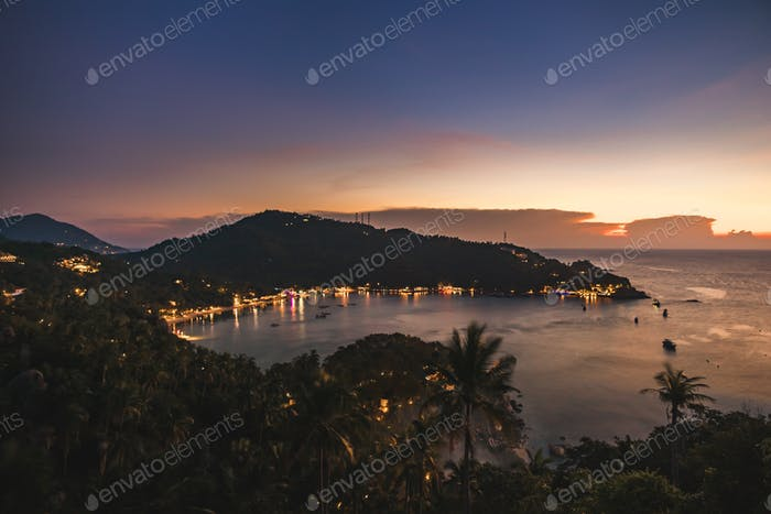 Thailand ocean bay, beach light aerial seascape at tropic resort Tanote Gulf, Koh Tao Island, Asia