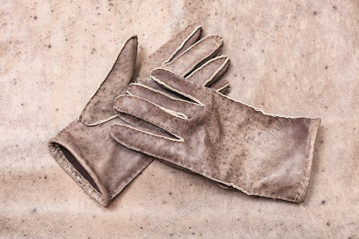 stitched gloves on original natural leather