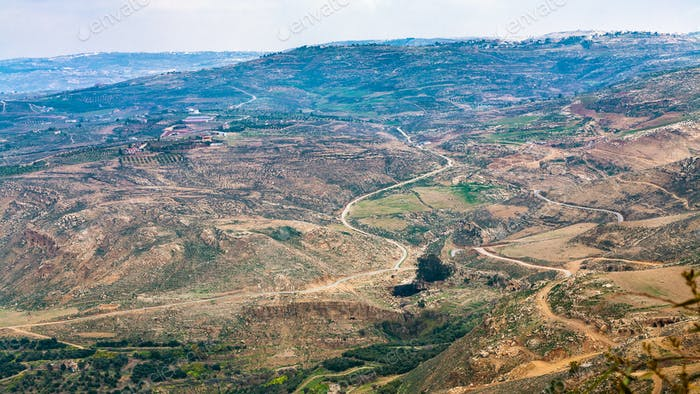 above view Promised Land from Mount Nebo in winter