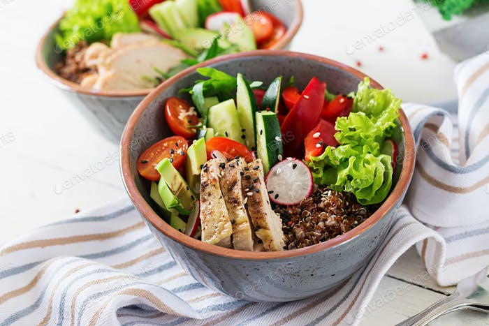 Detox and healthy superfoods breakfast bowl concept.