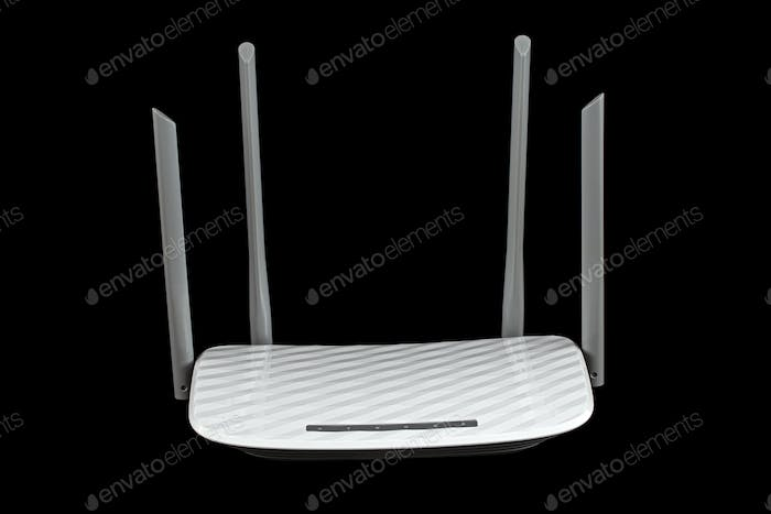 WI-FI wireless router, wireless data technology, isolated on black background
