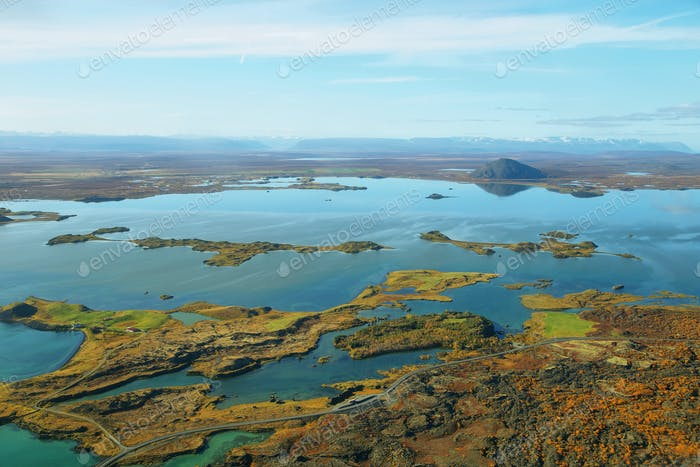 Aerial landscape lake Myvatn
