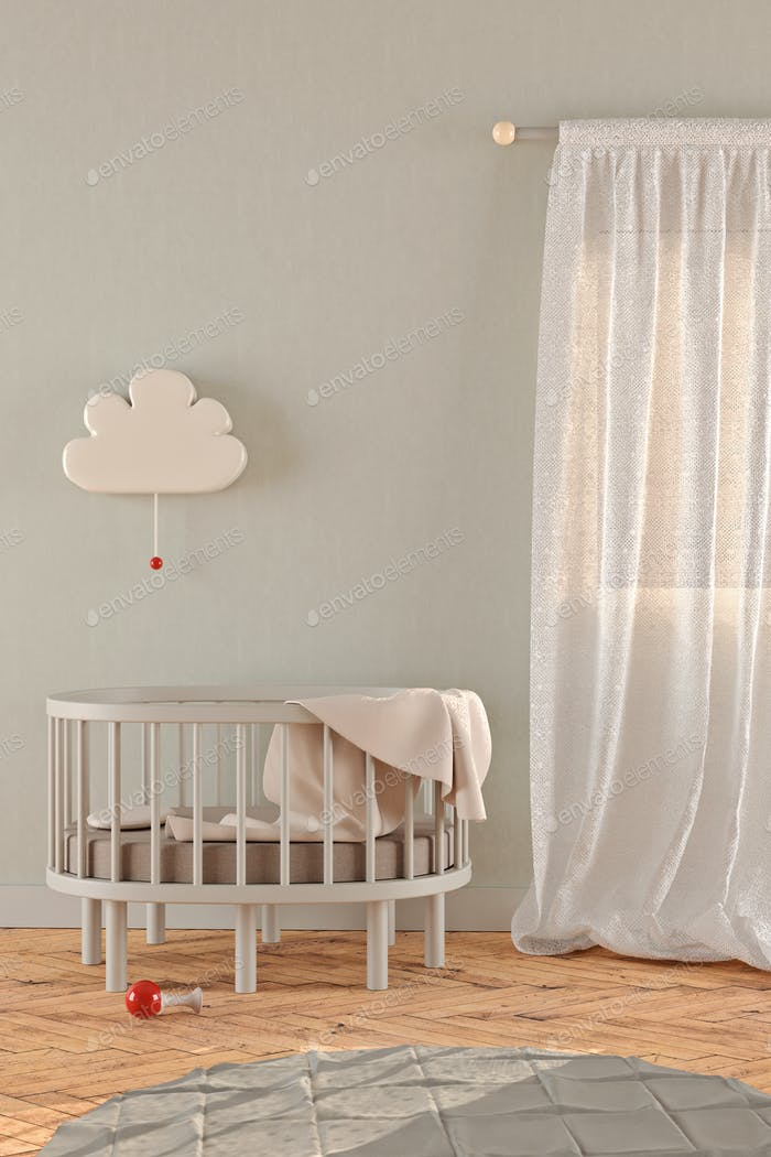 Gender neutral nursery, 3D render