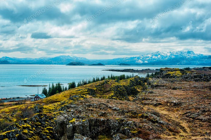 Iceland. National Iceland Park Skaftafell. Mountain background view. Outdoor filming.