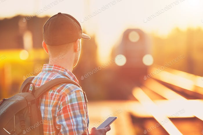 Man traveling by train