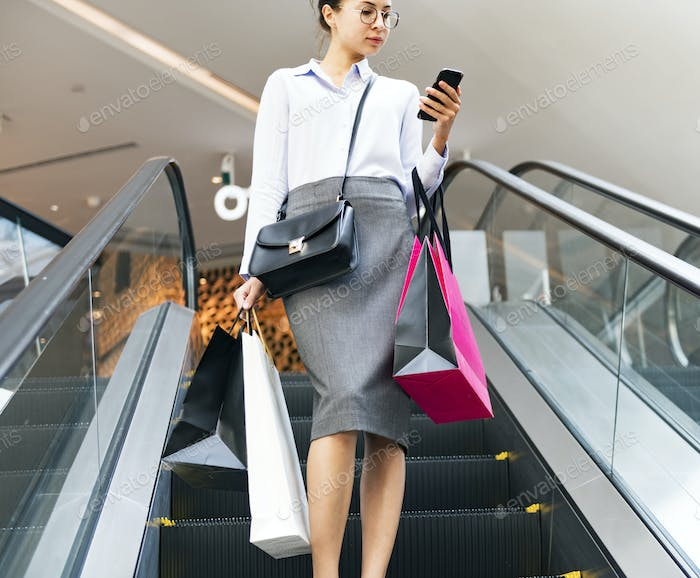 Woman enjoy shopping concept