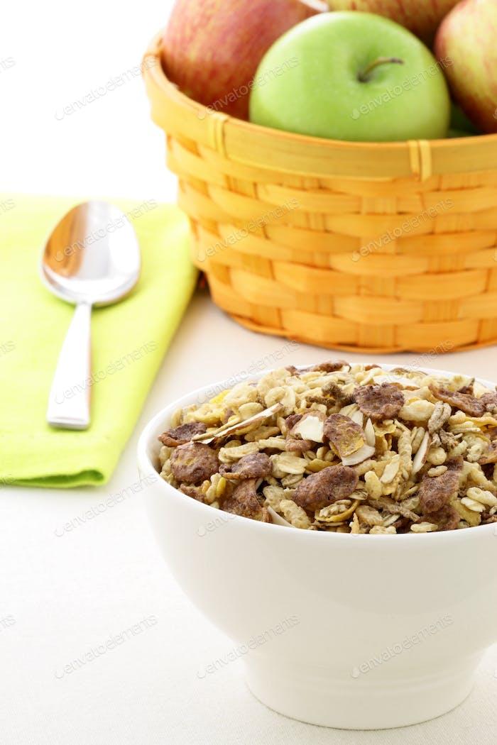 chocolate cornflakes and almonds muesli breakfast.