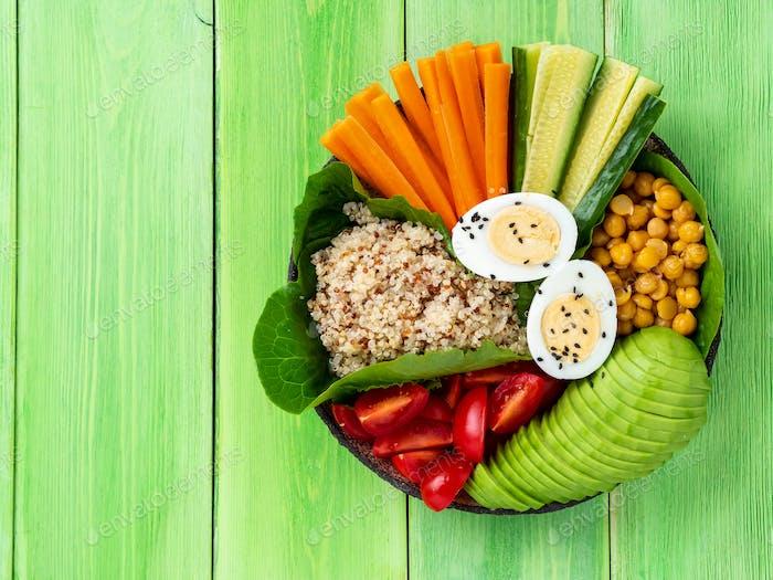 Vegetarian Buddha's bowl, a mix of vegetables.