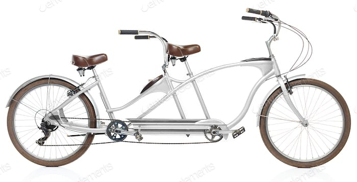 Retro styled tandem bicycle isolated on a white