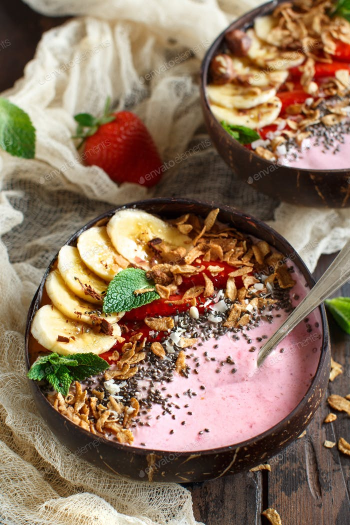 Strawberry and banana smoothie bowls