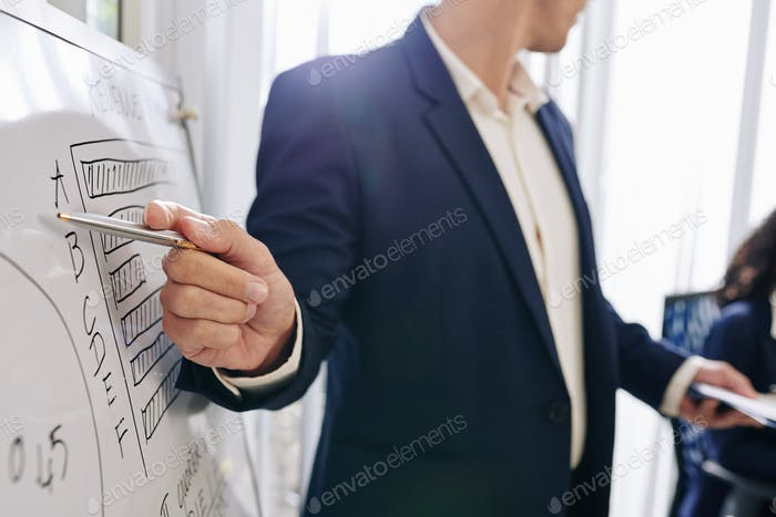 Entrepreneur pointing at diagram on whiteboard