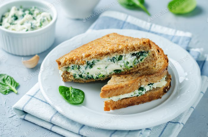Ricotta spinach rye sandwich