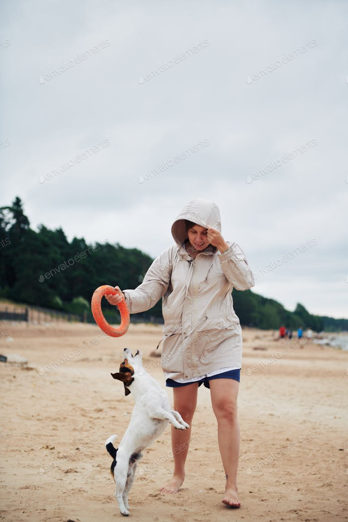 Young woman in jacket playing with dog on beach