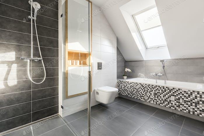 Elegant bright stone bathroom