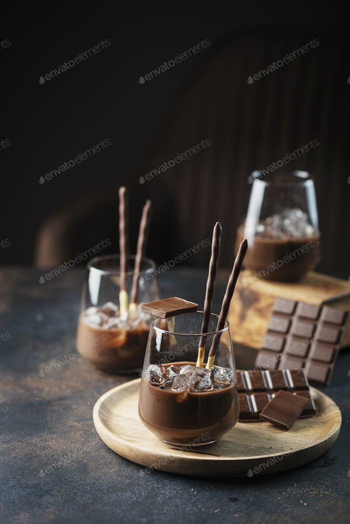 Creamy sweet liqueur with chocolate