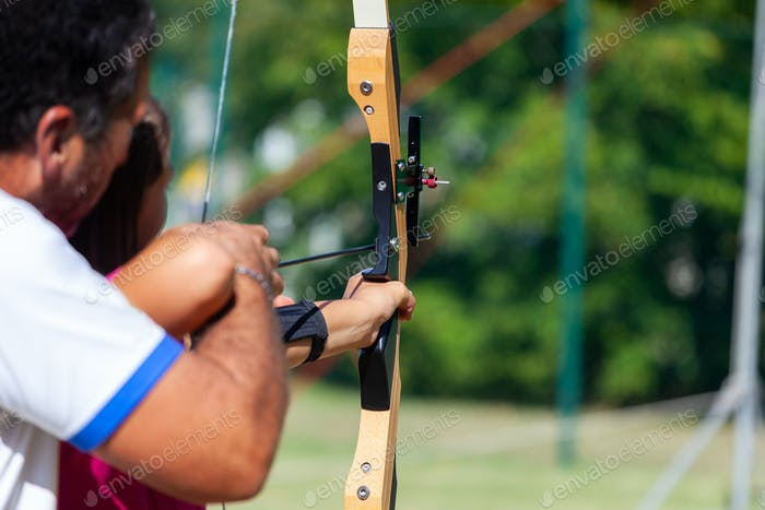 Outdoor archery lesson.