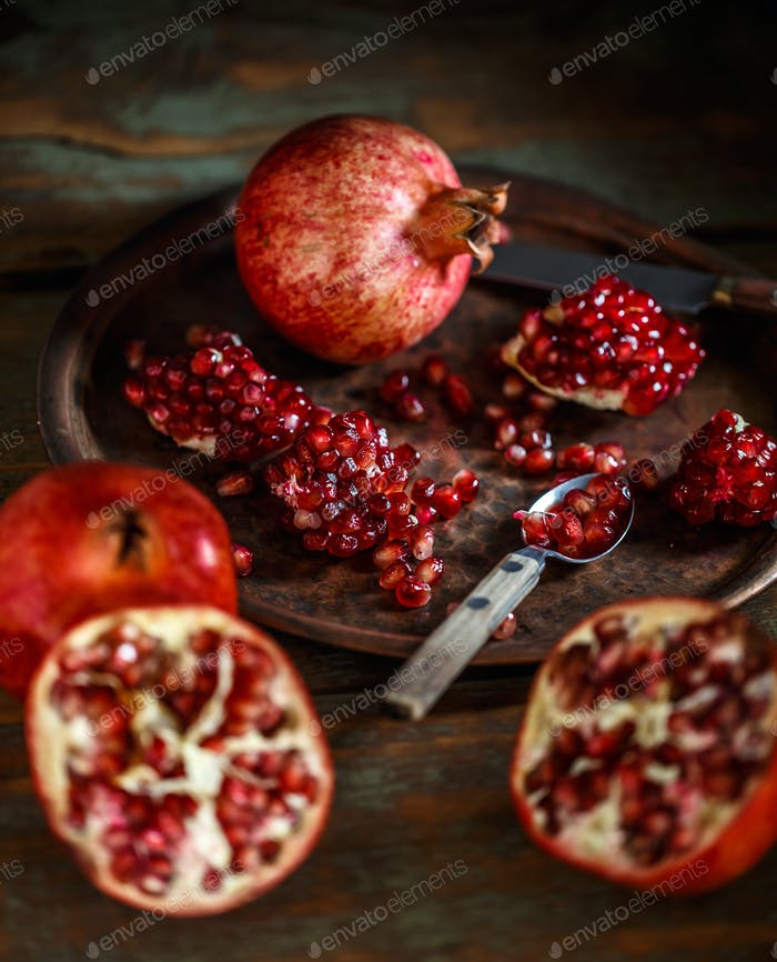 Red ripe juicy pomegranates