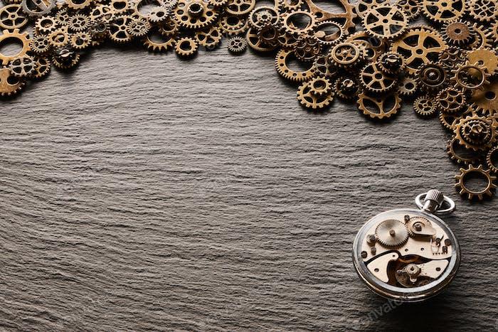 Various metal cogwheels and clockwork