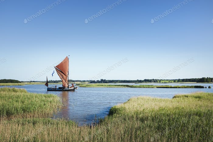 Traditional sailing boat with red sails and a gaff rig, a sailing smack on the water on a reed bed