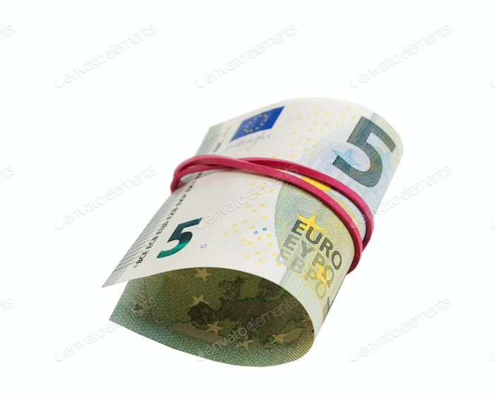 Banknote 5 Euro per roll isolate on white