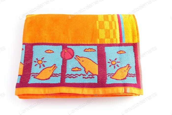 Bright orange beach towel