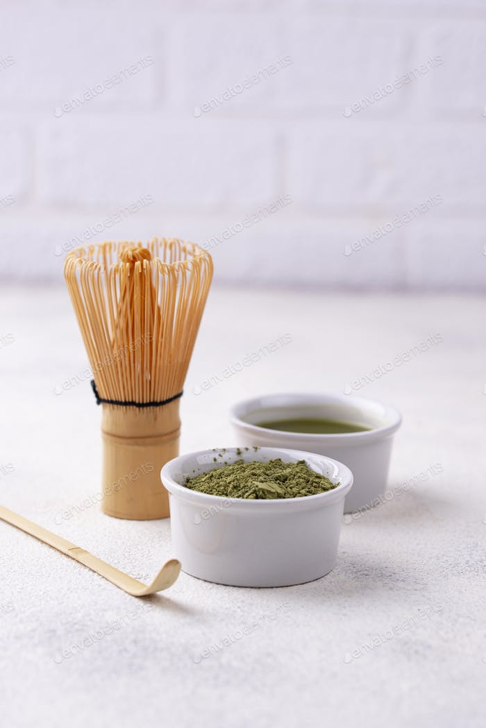 Matcha tea and bamboo whisk