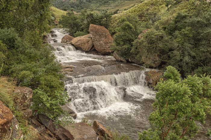 Cascades in the Mahai River in the Kwazulu-Natal Drakensberg