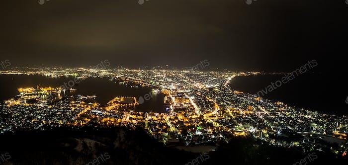 Night panorama view of Japan Hokkaido Hakodate city from Mount Hakodate