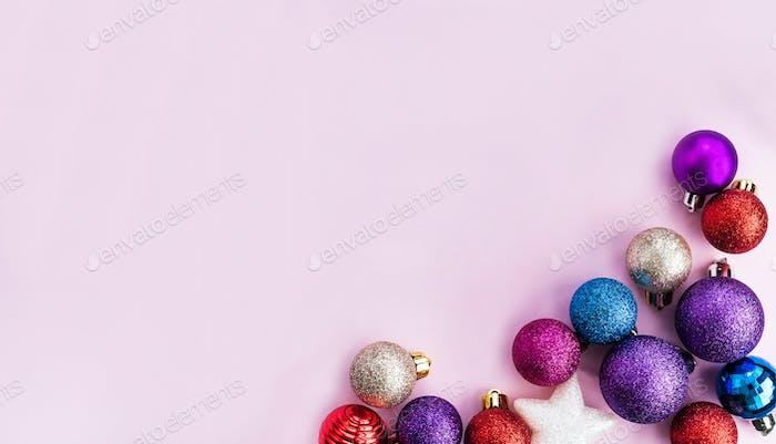 Colorful Christmas balls holiday background