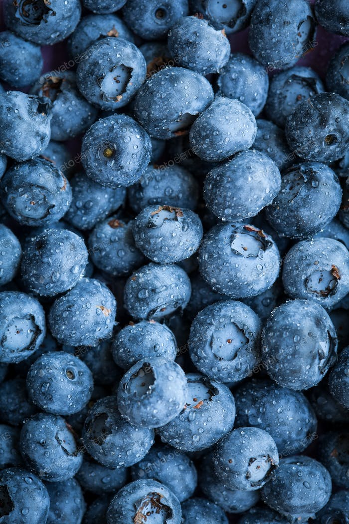 Group of fresh juicy blueberries on stone plate background