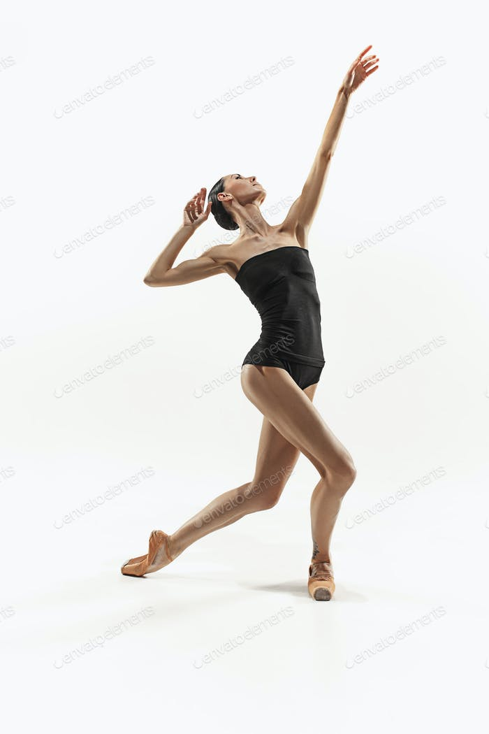 Aerobics fitness woman exercising isolated in full body.