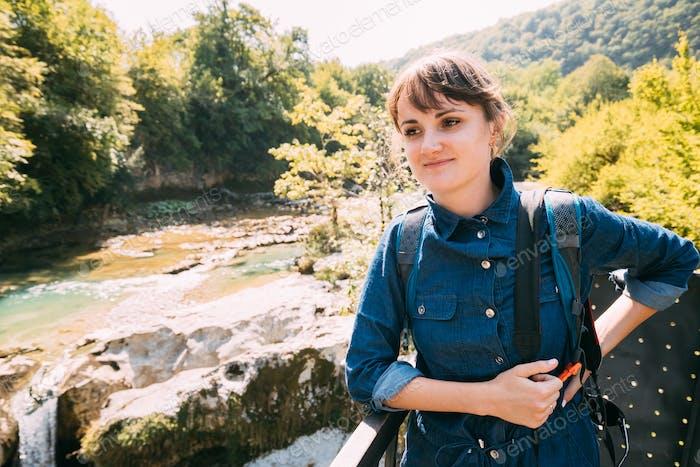 Martvili Canyon, Georgia. Tourist Young Beautiful Pretty Caucasi