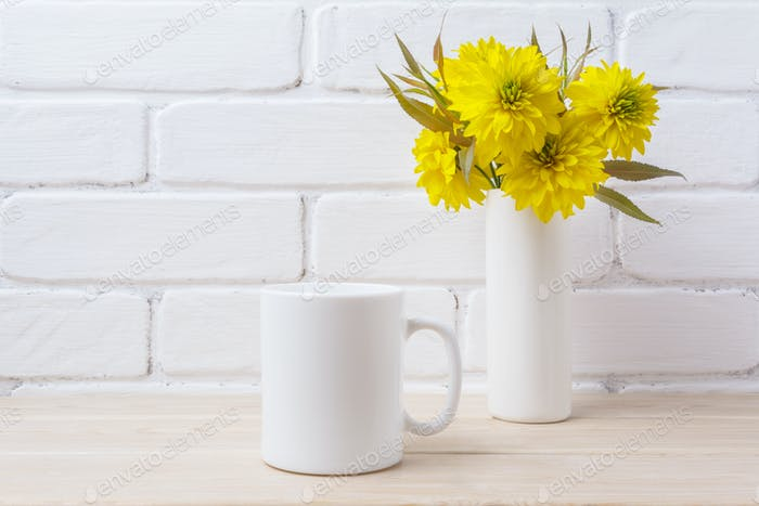 White coffee mug mockup with Golden Ball flower