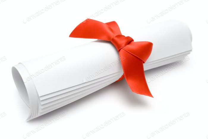 Gift Certificate Isolated on a White Background