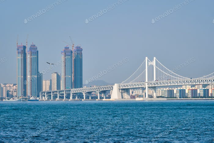 Gwangan Bridge and skyscrapers in Busan, South Korea