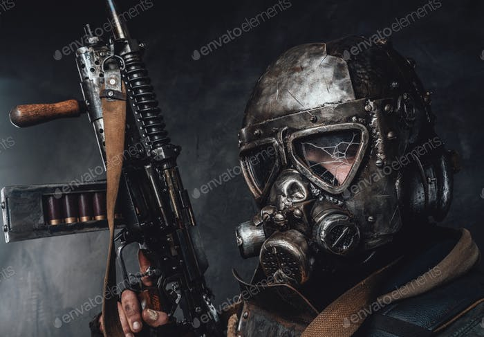 Armoured apocalyptic stalker's headshot in dark background