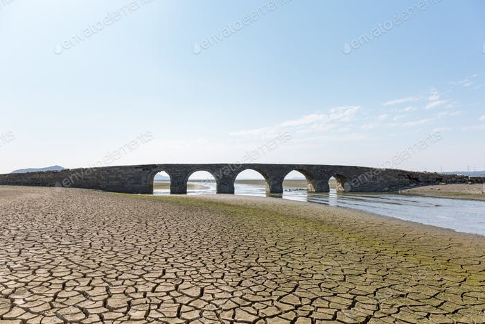 ancient stone bridge in poyang lake