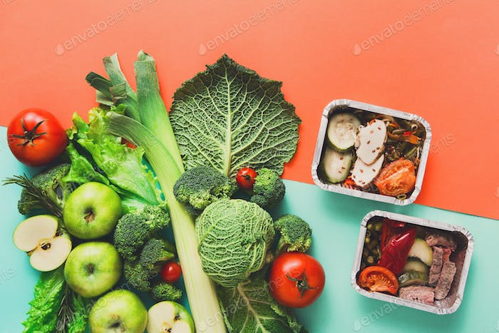 Flat lay of green vegetables on bright background