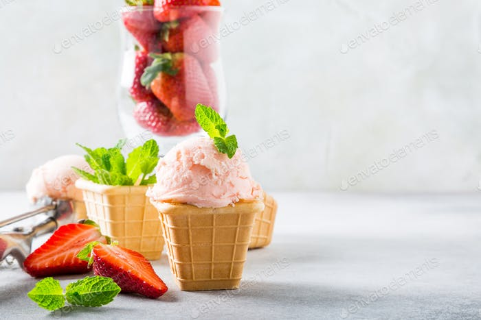 Waffle cups with strawberry ice cream
