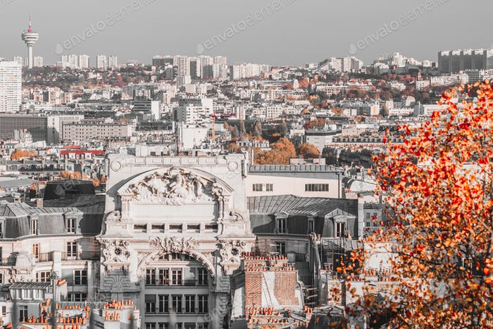 Panoramic view of Paris skyline in creative retouch. Aerial view, France, Europe.