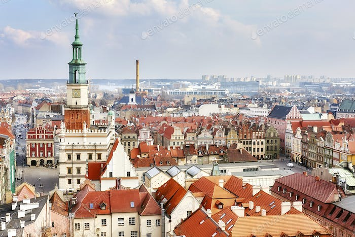 Aerial view of the Poznan Old Town, Poland