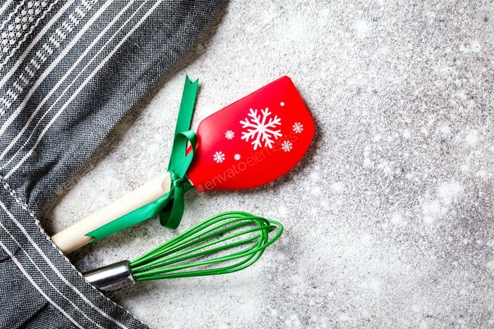 Kitchen apron on Christmas Background Concept