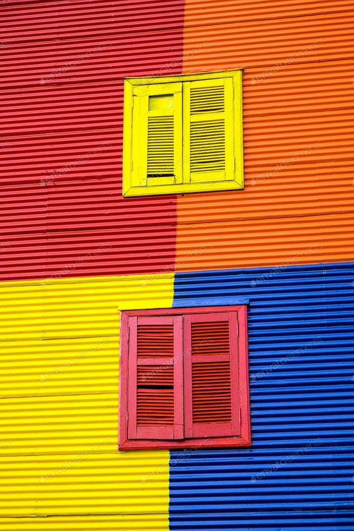 One of the colorful facades of La Boca