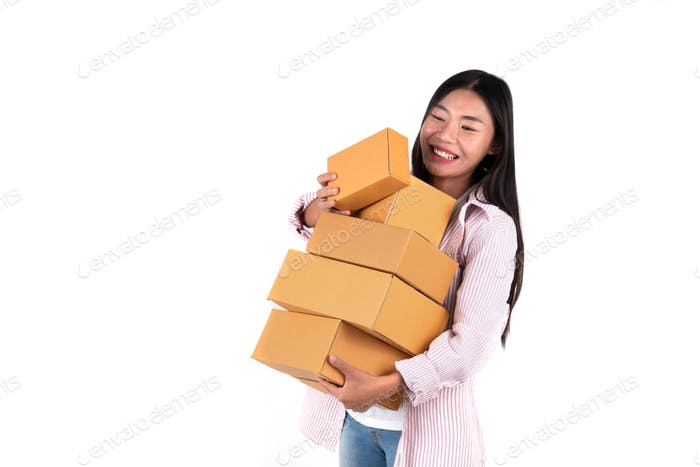 woman holding parcel box