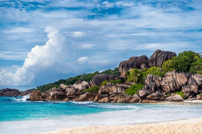Grande Anse beach, La Digue island, Seychelles. Amazing natural landscape of paradise island and